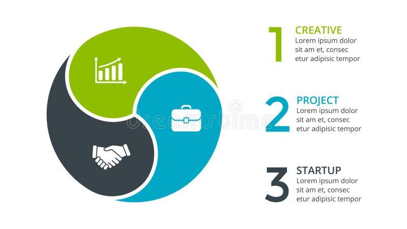 Vector as setas infographic, diagrama do círculo do ciclo, gráfico, carta da apresentação Conceito do negócio com 3 opções, peças ilustração do vetor