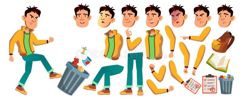 Vector asiático del chico malo Alto alumno Sistema de la creación de la animación Emociones de la cara, gestos Chico malo, emocio libre illustration