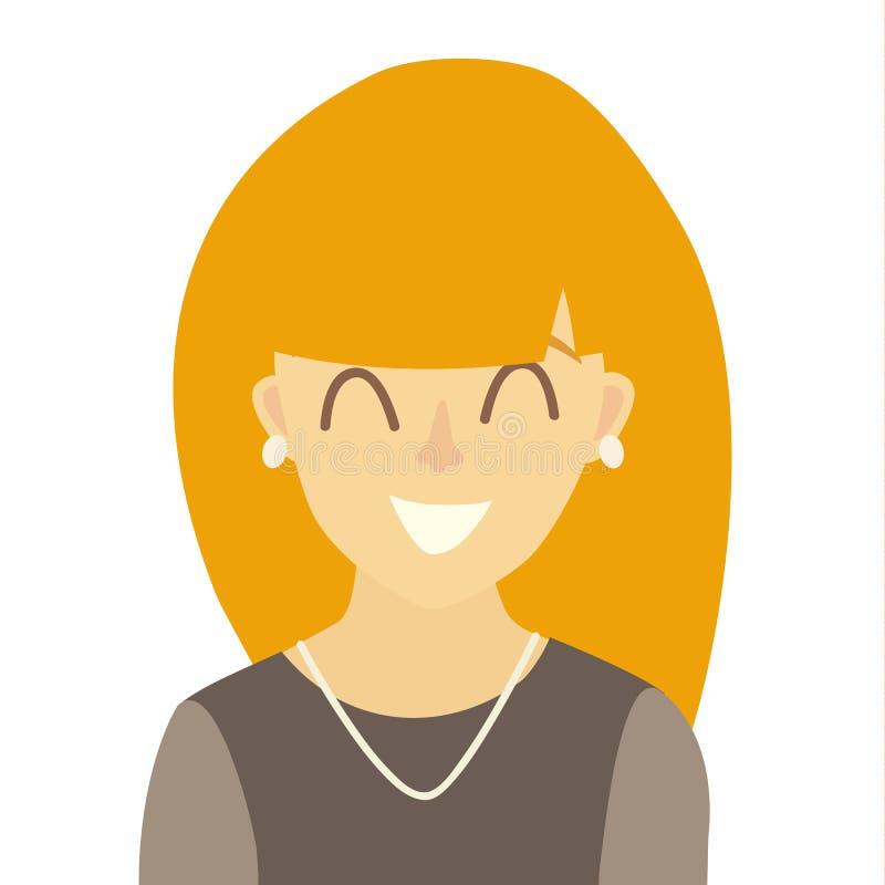 Vector asiático feliz del icono de las muchachas Ejemplo del icono de la mujer joven Cara del estilo plano de la historieta del i ilustración del vector