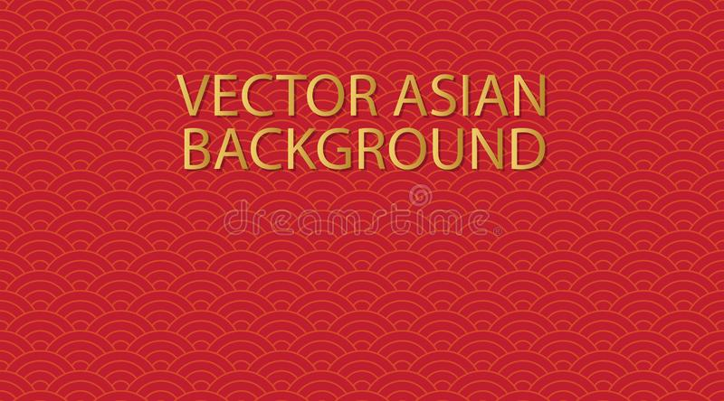 Vector asian background. Seamless red japanese wave pattern. Repeating ocean water curve chinese texture. Gold line art vector illustration