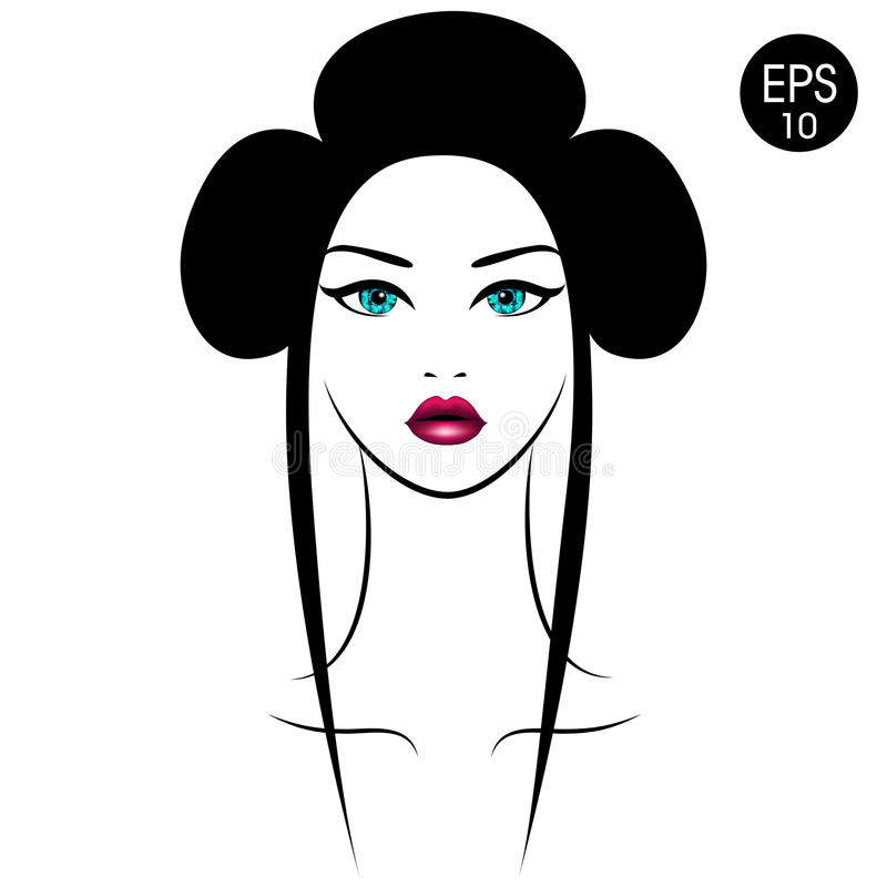 Free Vector Asian Woman. Girl`s Portrait With Traditional Hairstyle Royalty Free Stock Photo - 89278415