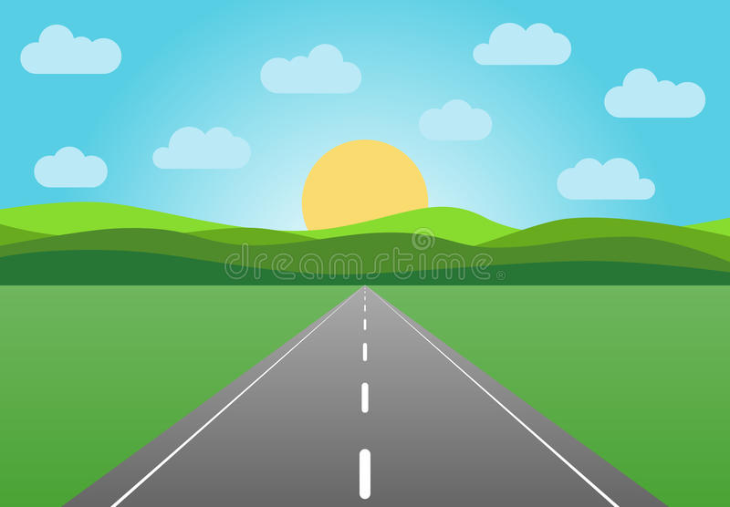 Vector asphalt road leaving into the horizon. Summer landscape with highway at sunrise with green field and clouds on blue sky royalty free illustration