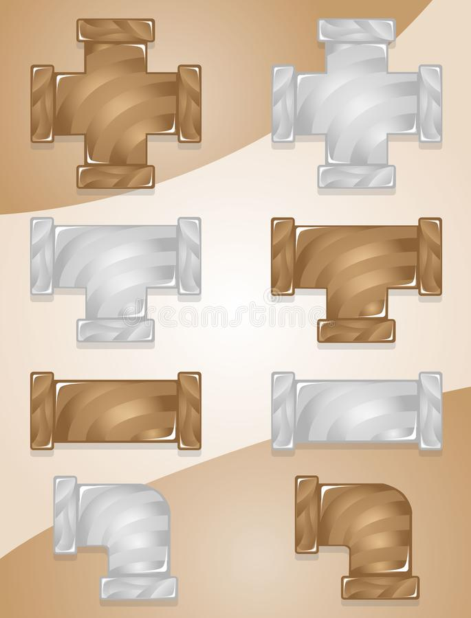 Pipe plumber Color Brown and Gray candy icon set. stock illustration