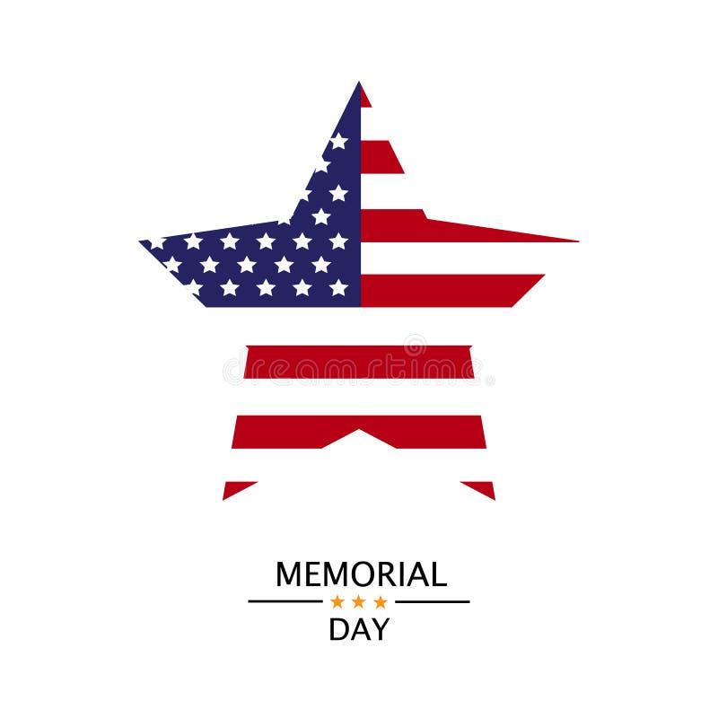 Vector asteroide de la bandera americana Memorial Day stock de ilustración