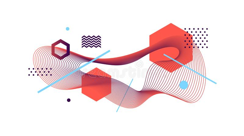 Astract design. Avant-garde style abstract illustration with guilloche waveform element. Vector astract design. Avant-garde style abstract illustration with stock illustration