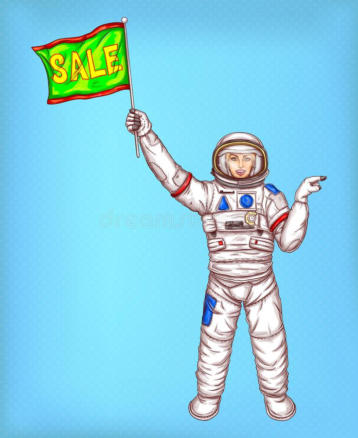 Vector astronaut girl in spacesuit with green flag stock illustration
