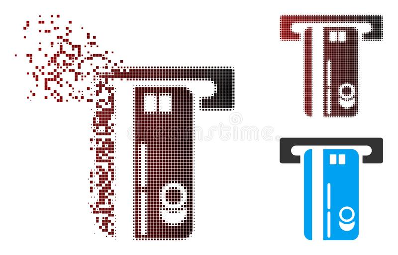 Decomposed Pixel Halftone ATM Machine Icon. Vector ATM machine icon in dispersed, dotted halftone and undamaged whole versions. Disappearing effect involves royalty free illustration