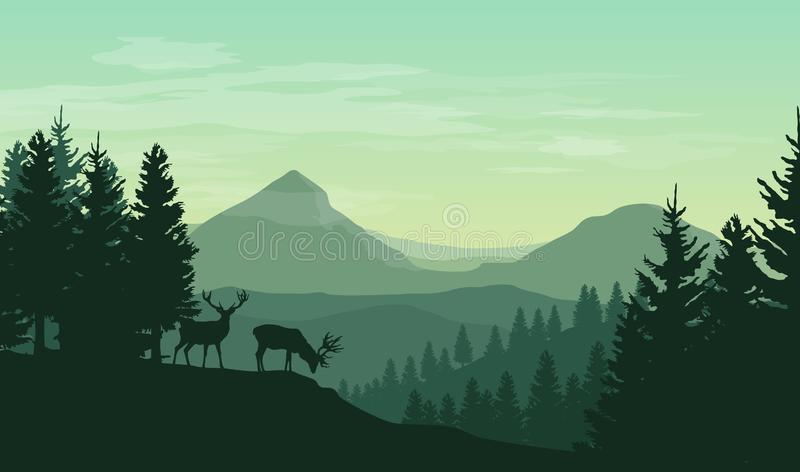 Vector atmospheric landscape with silhouettes of mountains, hills, forest and two deers stock illustration