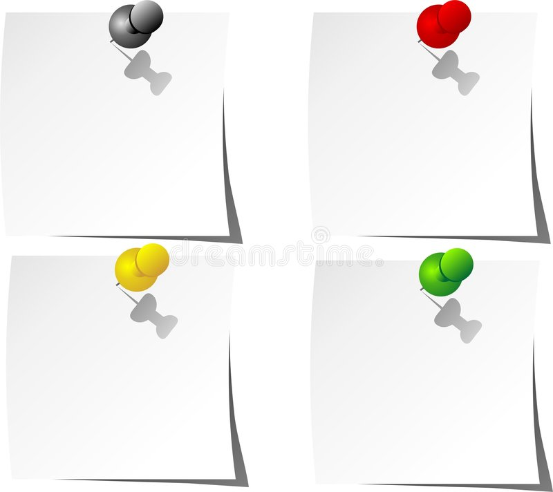 Download Vector Attached Push Pin Notes Stock Vector - Illustration: 9063206
