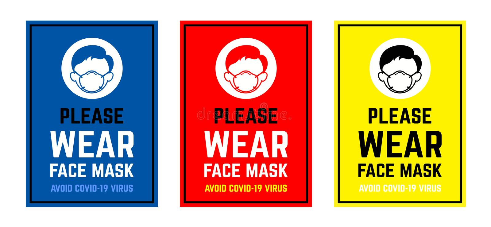 Vector attention sign collection , please wear face mask avoid covid-19 virus. warning or caution sign. Vector attention sign collection , please wear face mask royalty free illustration