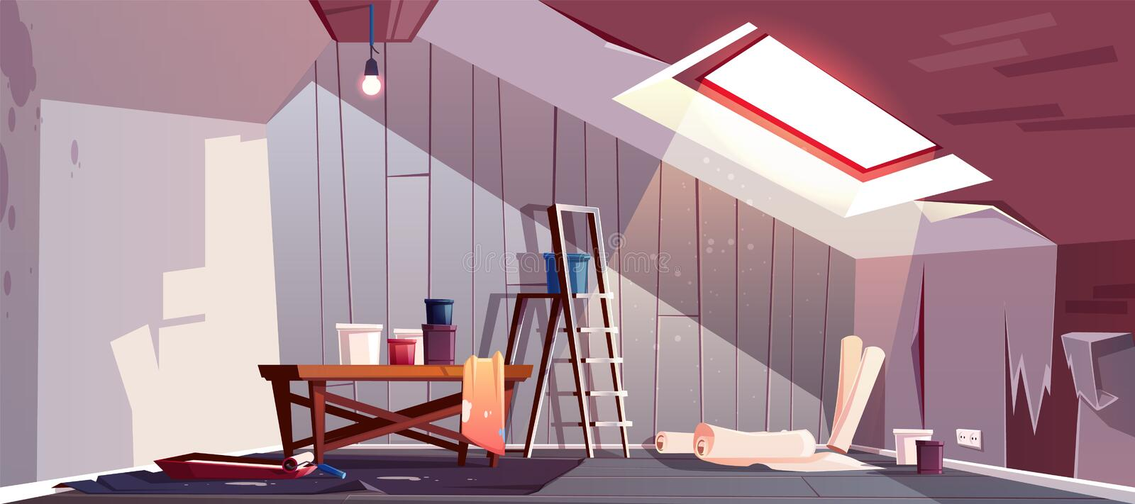 Vector attic repair. Renovation of garret, loft. Vector concept of attic repair. Renovation of wooden room under a roof. Tray with paint, cylinder roller and vector illustration