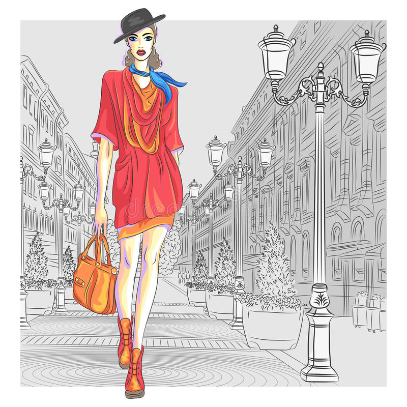 Vector attractive fashion girl goes for St. Peters royalty free illustration