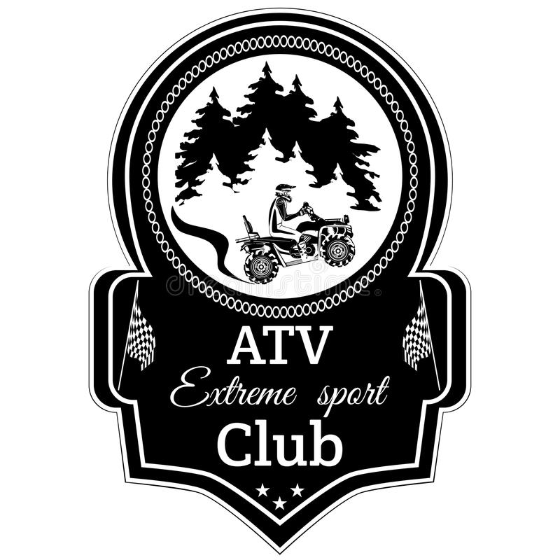 Vector atv quad bike extreme sport club emblem vector illustration