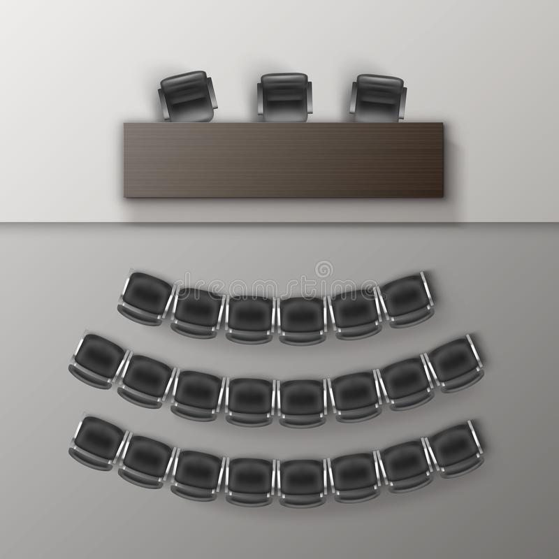 Vector Audience Auditorium Empty College Lecture Hall in University with Black Office Chairs and Brown Wooden Table Top royalty free illustration