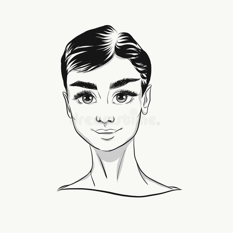 Vector Audrey Hepburn cartoon portrait black and white. Cute face with big eyes for fashion print vector illustration