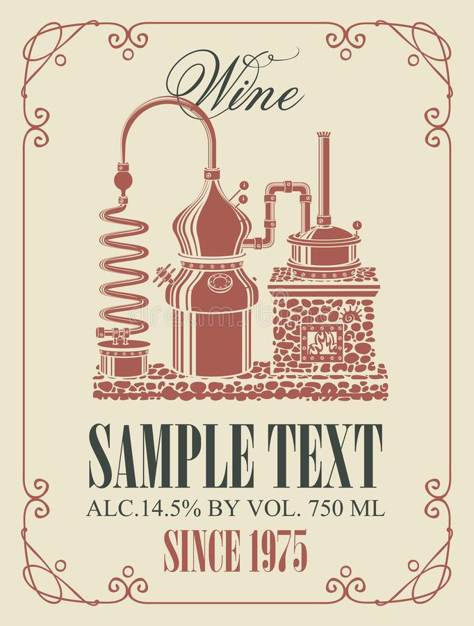 Vector Aufkleber für Wein mit Retro- Weinproduktion stock abbildung