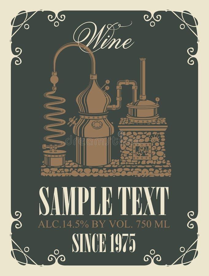 Vector Aufkleber für Wein mit Retro- Weinproduktion lizenzfreie abbildung