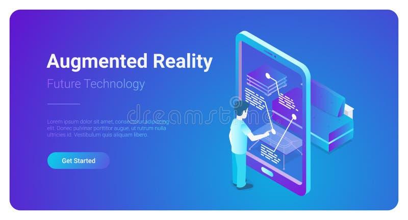 Vector aumentado plano de la realidad virtual de los bienes raices VR M ilustración del vector