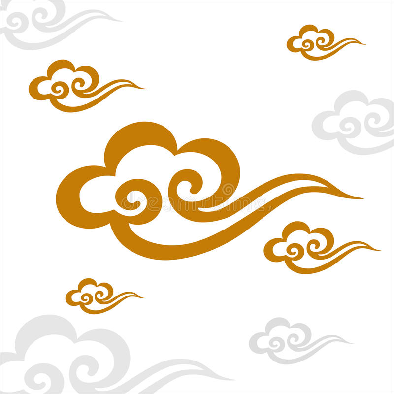 Vector Auspicious Cloud pattern isolated vector illustration