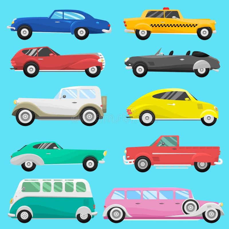 Vector auto clásico del vintage del viejo estilo del coche del vehículo del automóvil de la velocidad del deporte del transporte  ilustración del vector