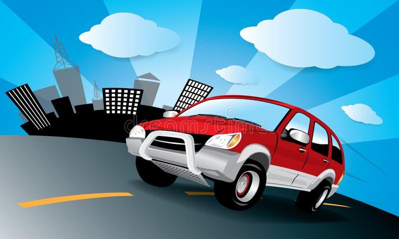 Vector auto in de weg royalty-vrije illustratie