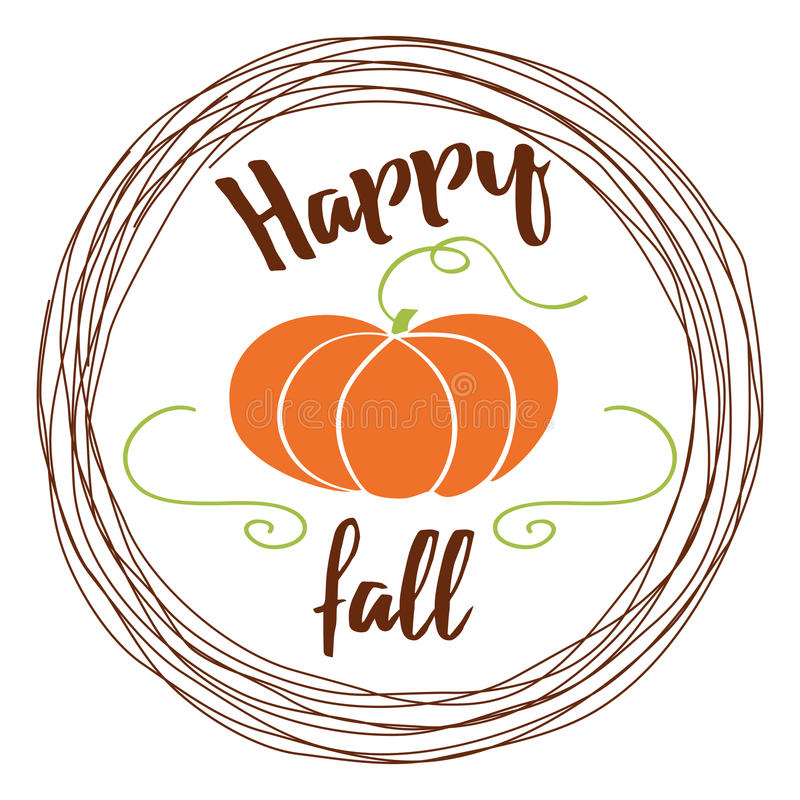 Vector autumn background with pumpkin and text Hello fall into сircle frame on white background stock illustration