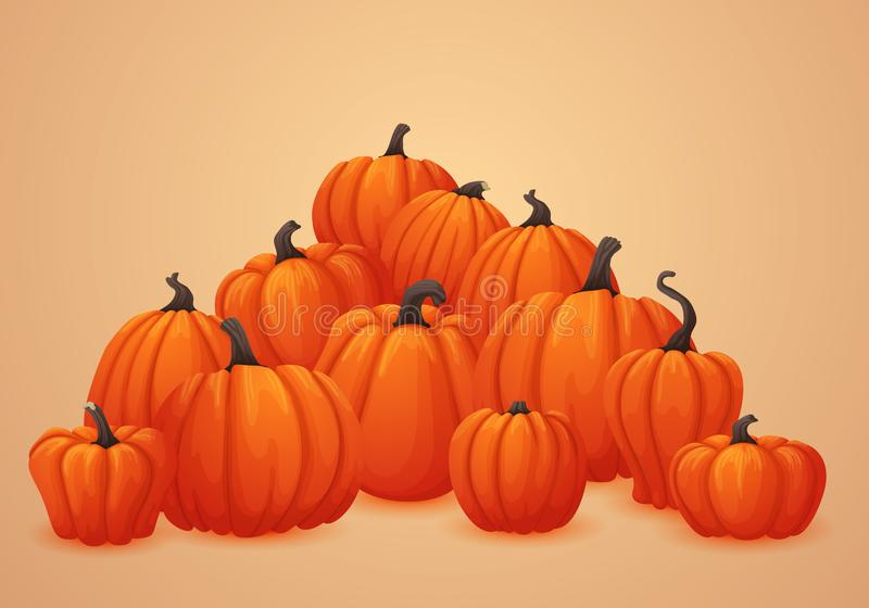 Vector autumn banner, poster template. Heap of ripe orange pumpkins. stock illustration