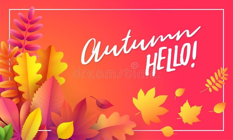 Vector Autumn Banner Ramo de hojas de otoño caidas en fondo rojo con otoño del texto hola stock de ilustración
