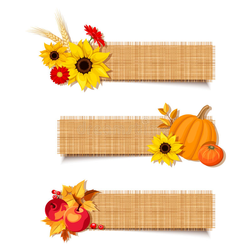 Free Vector Autumn Banners With Pumpkins, Flowers And Apples. Royalty Free Stock Image - 60589156
