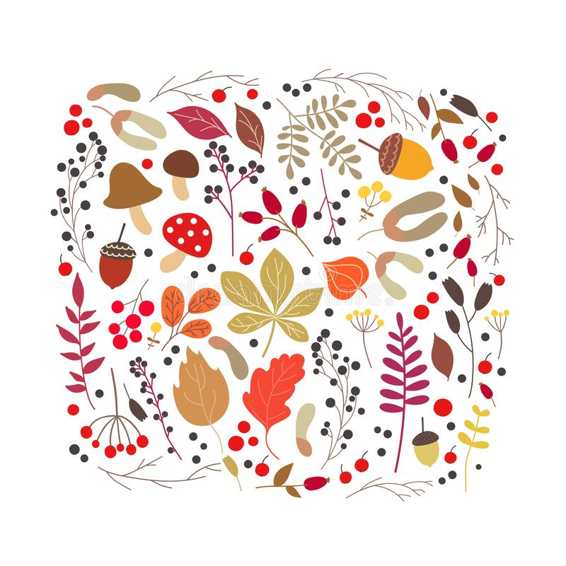 Vector autumn cartoon set with fall leaves, mushrooms and berries. Vector stylized set with autumn fall leaves, mushrooms and berries. Floral graphic design stock illustration