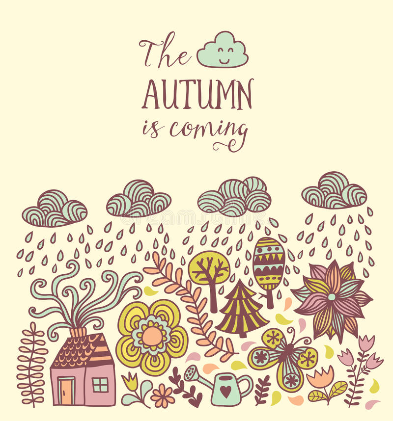 Vector Autumn Doodles Card. Hand Draw Trees And Leafs Over The City.  Lettering Quote. Season Of The Rain, Border Illustration, Greeting Card, ...