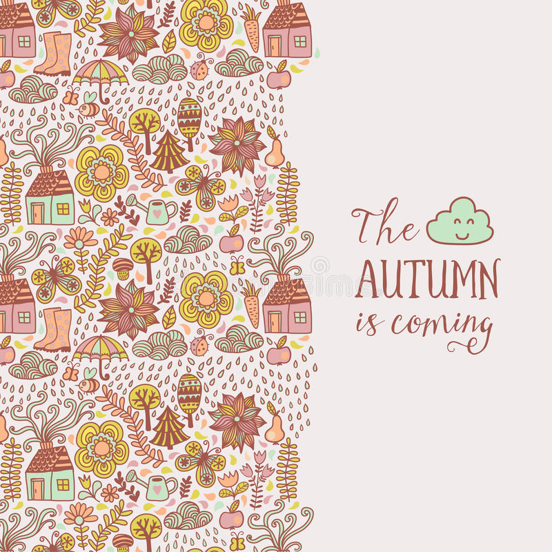 Vector autumn doodles card. Hand draw trees and leafs over the city. Lettering quote vector illustration