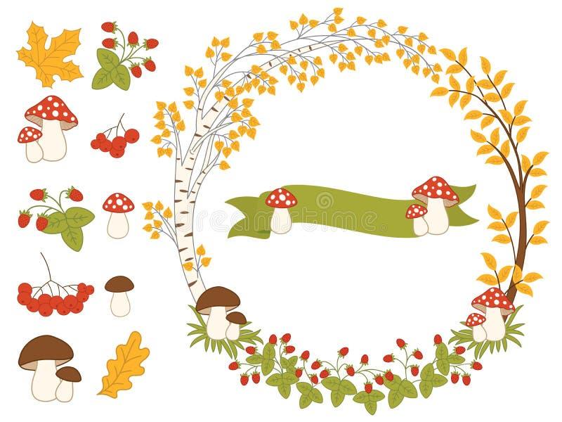 Vector Autumn Forest Set with Wreath, Mushrooms, Leaves and Berries. Vector autumn forest set with wreath, mushrooms, amanita, leaves, berries and ribbon. Autumn royalty free illustration