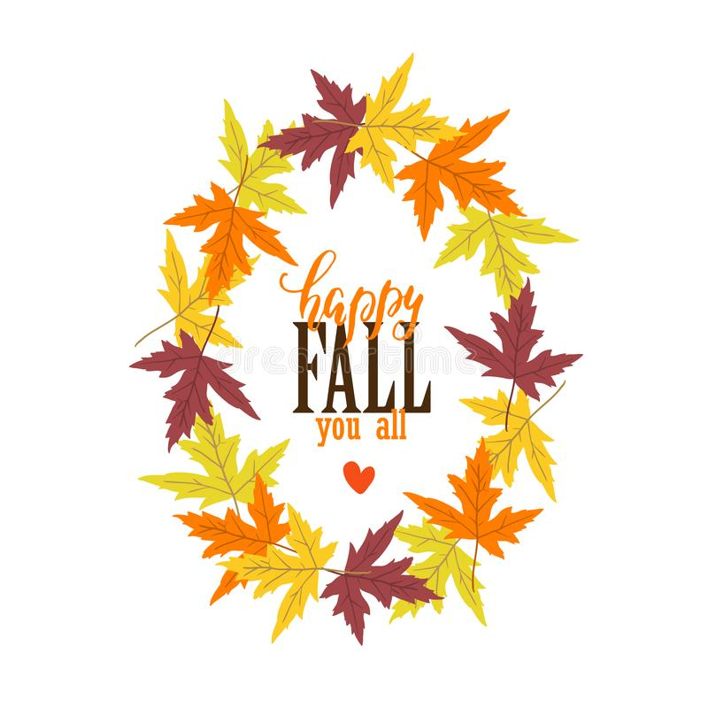 Vector Autumn greeting card with , maple leaves. On white background. Perfect for holiday invitations royalty free illustration