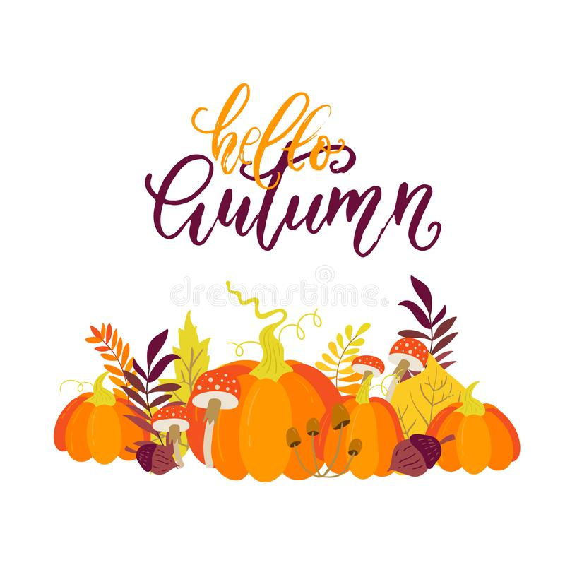 Vector Autumn greeting card with pumpkins, maple leaves. Mushrooms and acorns on white background. Perfect for holiday invitations vector illustration