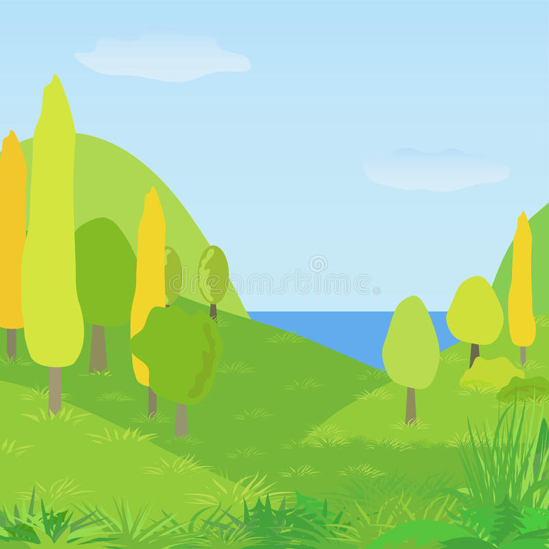 Vector autumn landscape with hills, trees and river royalty free illustration