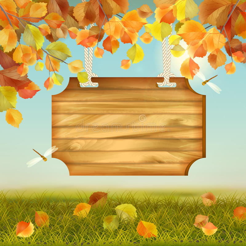 Vector Autumn Landscape Wooden Board. Vector autumn landscape with wooden board, grass, fallen leaves, tree branches, dragonfly royalty free illustration