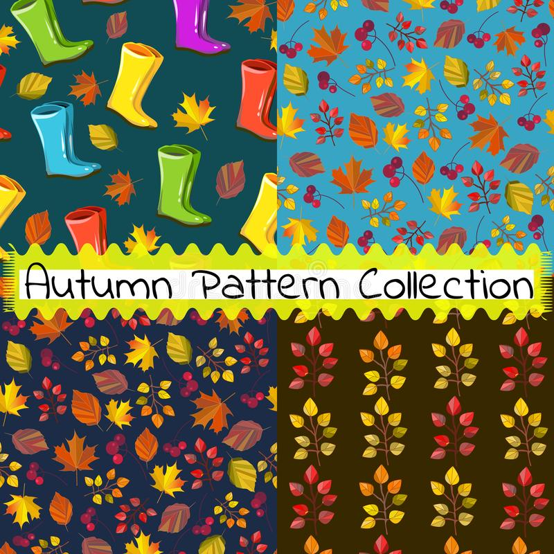 Vector autumn pattern collection,set. Seamless print,texture,background. Fall colors. Big collection for your design. Autumn colors. Fall design royalty free illustration