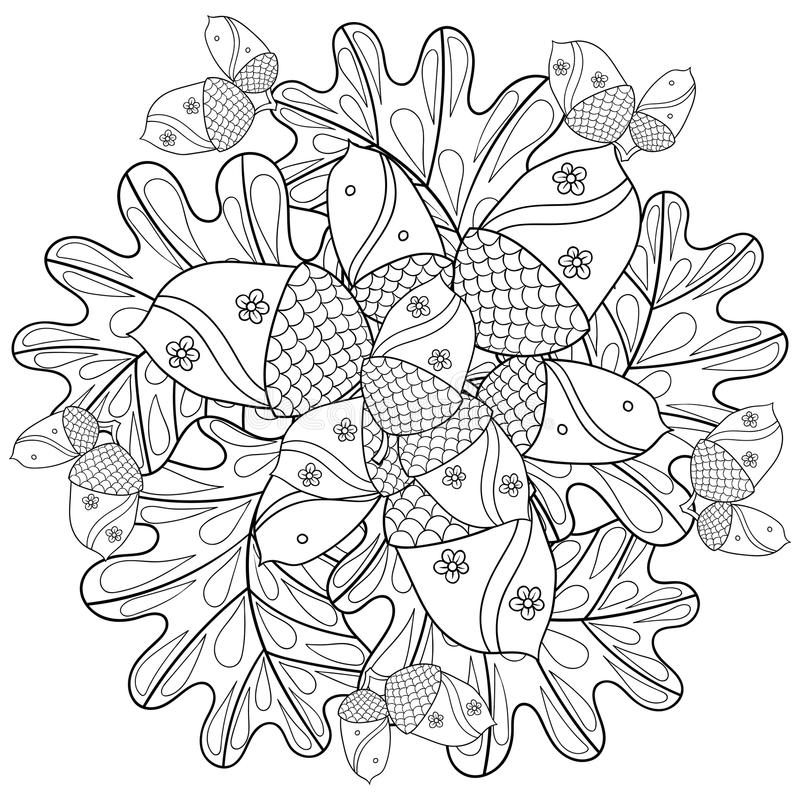 Vector Autumn Patterned Background With Oak Leaves And Trees For Adult Coloring Pages Hand Drawn Artistic Monochrome Illustration In Ethnic