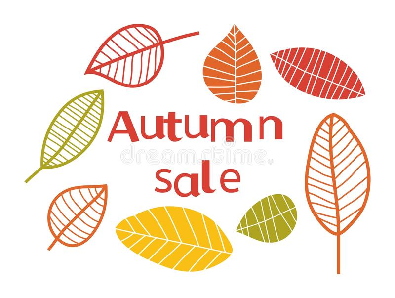 Vector autumn sale background with colorful leaves royalty free stock photography
