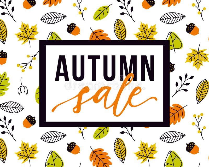 Vector autumn sale flyer template with lettering and pattern with fall leaves and acorns. Poster, card, label, banner design vector illustration