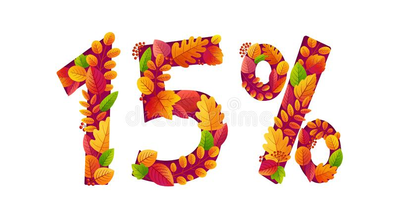 Vector autumn sale 15 percents off discount with orange fall leaves in number shape.  vector illustration
