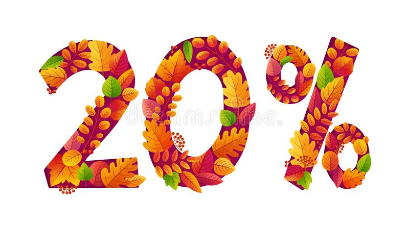 Vector autumn sale 20 percents off discount with orange fall leaves in number shapes.  vector illustration