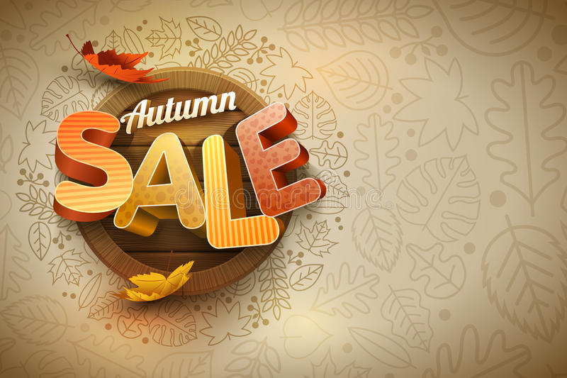 Vector Autumn Sale Poster Design Template stock de ilustración