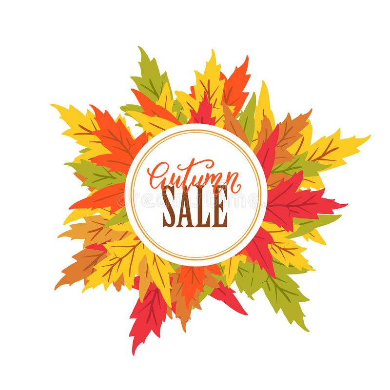 Vector Autumn sale poster with maple leaves. And circle label on white background. Autumn festifal vector illustration