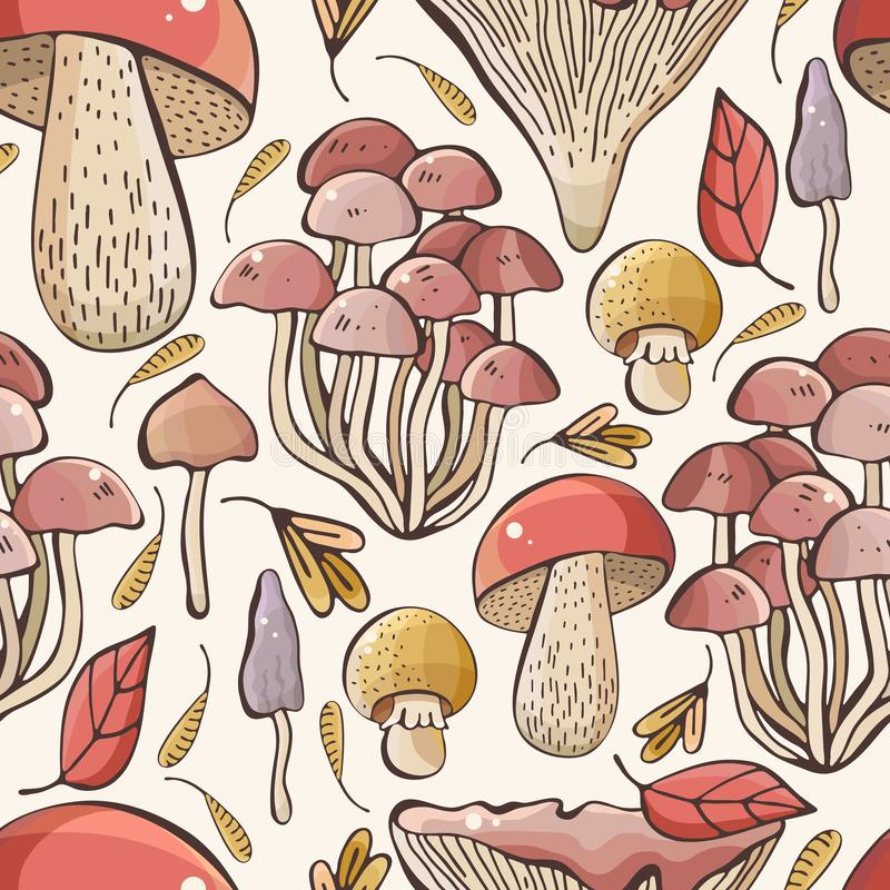 Vector autumn seamless pattern with leaves, maple seeds, mushrooms on white background. Drawing hands in a cute, childish style. vector illustration
