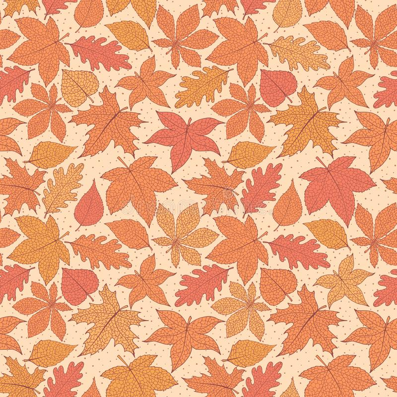 Vector autumn seamless pattern with oak, poplar, beech, maple, aspen and horse chestnut leaves of orange and red colors. On the yellow dotted background. Fall stock illustration