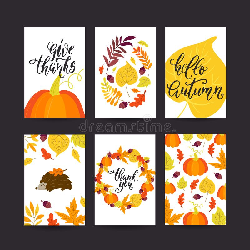 Vector Autumn season greeting cards big collection. Vector Thanksgiving day greeting card, flyer, banner, poster templates. Hand drawn symbols, pumpkin pie vector illustration