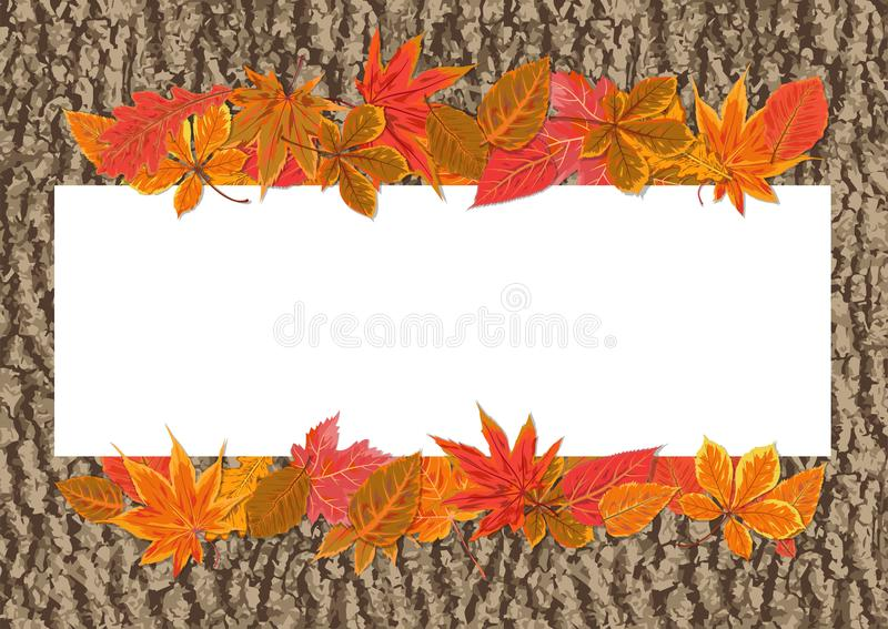 Vector autumn seasonal watercolor style Fall maple chestnut, alder tree red, orange color leaves border. Nature forest. Leaf, foliage banner decoration vector illustration