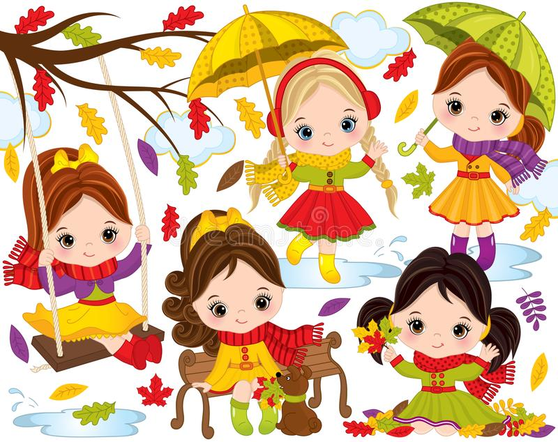 Vector Autumn Set with Cute Little Girls and Colorful Leaves vector illustration